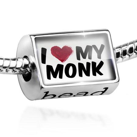 Bead I heart love my Monk Charm Fits All European Bracelets - Monk Beads