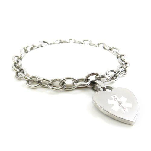 Steel Raindrop White Symbol Pre-Engraved /& Customized Morphine Allergy ID Bracelet My Identity Doctor