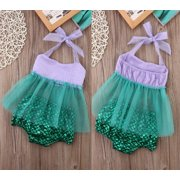 Newborn Baby Girls Tulle Tops+Bottoms Briefs Mermaid 2pcs Outfits Set Clothes