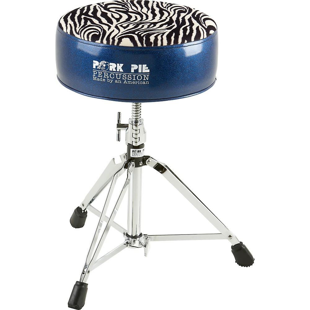 Pork Pie Round Drum Throne Blue with Zebra Top by Pork Pie