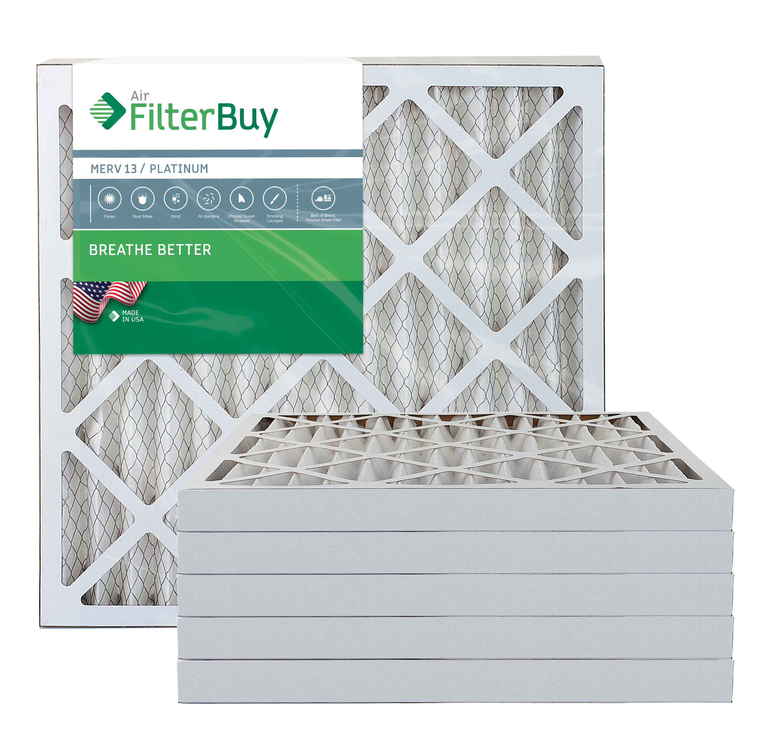 AFB Platinum MERV 13 16x25x4 Pleated AC Furnace Air Filter. Pack of 6 Filters. 100% produced in the USA.