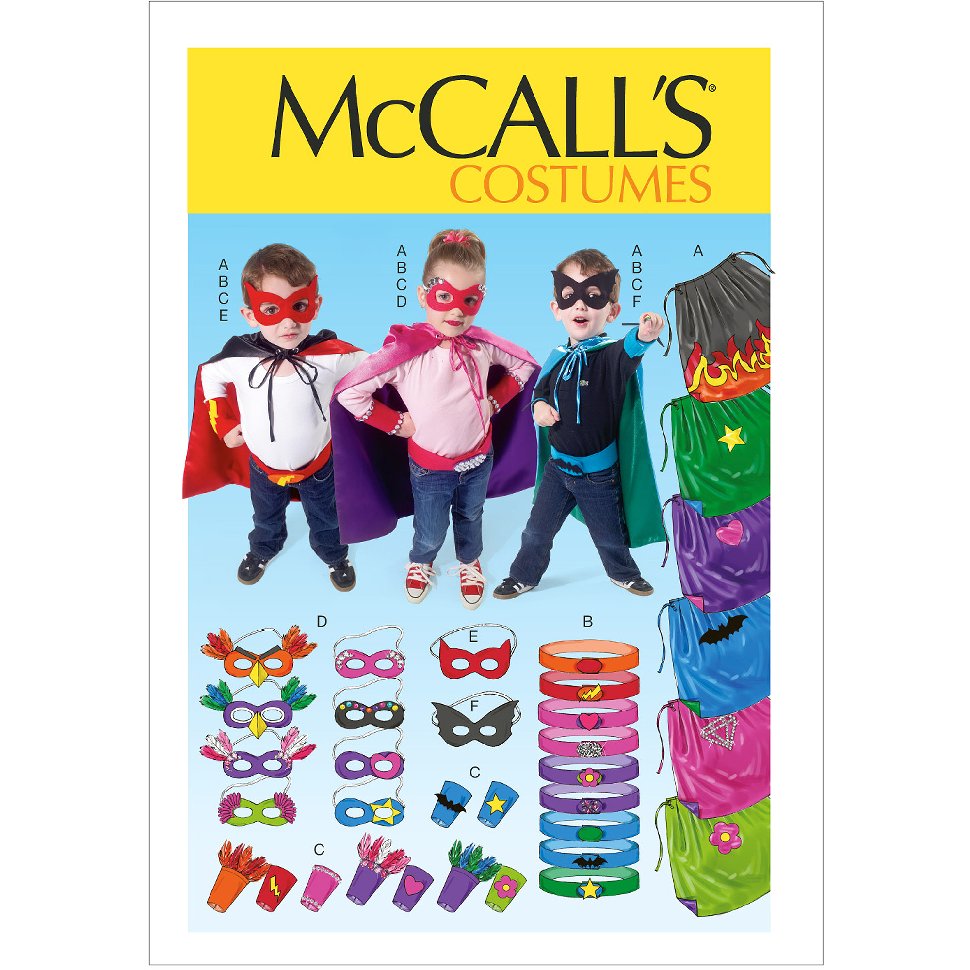 McCall's Pattern Children and Boys' and Girls' Cape, Belt, Cuffs and Masks, All Sizes