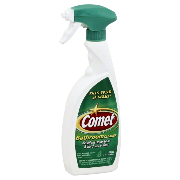 Click here to buy Comet Bathroom Cleaner Spray, 17 Oz by The Spic and Span Company.