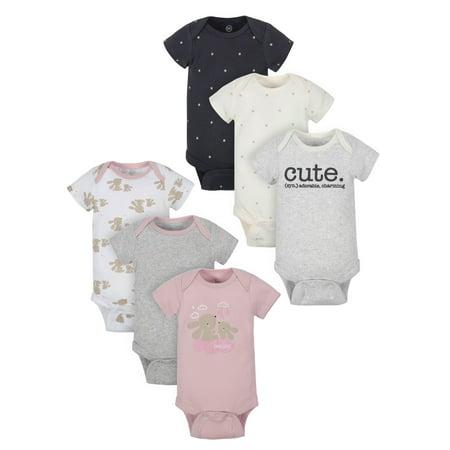 Wonder Nation Baby Girl Short Sleeve Bodysuits, 6-Pack