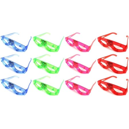 - Set of 12 Flashing LED Multi Color Light Show Children's Kid's Light Up Toy Glasses (Colors May Vary)
