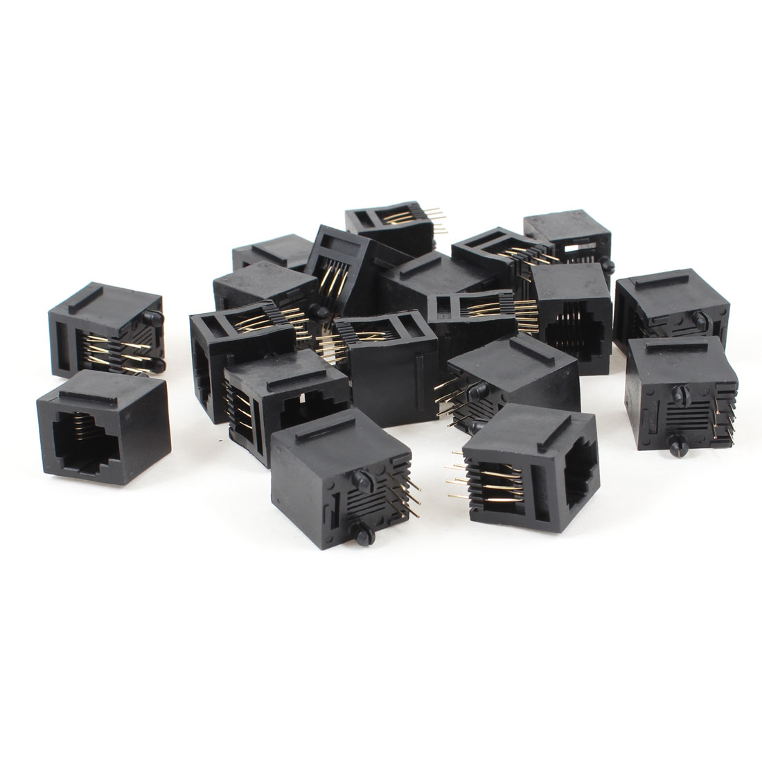 Unique Bargains 19pcs 180 Degree RJ12 6P6C 6 Pin Network LAN Ethernet PCB Jacks Connector Black