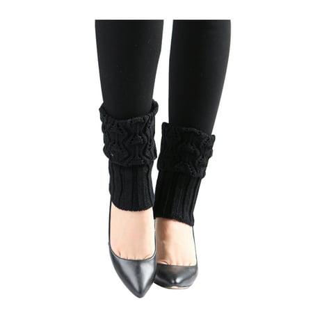 Women Ruffled Cuff Over Knee Length Knitted Leg Warmers (80s Style Leg Warmers)