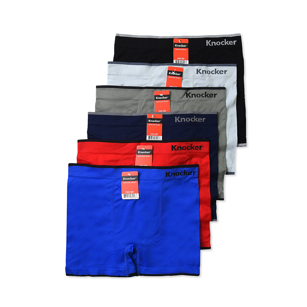 Mens Seamless Boxer Briefs Underwear Assorted 6 Pack