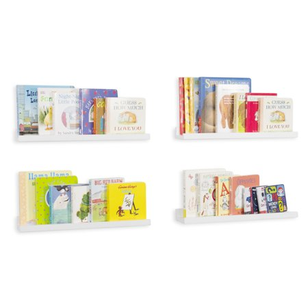 Bookshelf Wall (Wallniture Denver Wall Mount Kids' Nursery Room Bookshelf and Floating Shelves for Picture Frames - 17 Inches - White - Set of)