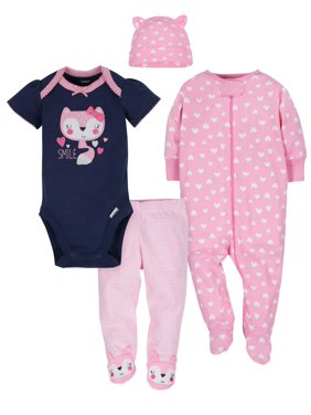 Gerber Baby Girl Outfit Take Me Home Shower Gift Set, 4-Piece