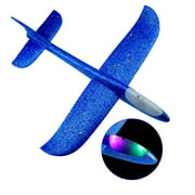 """Meterk Flying Glider Planes With Flash LED Light 18.9"""" Foam Flight Mode Throwing Air Plane Aerobatic Airplane Outdoor Sport Game Toys Gift for Kids 3 4 5 6 7 Year Old Boy Blue"""