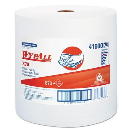 WypAll X70 Cloths, Jumbo Roll, Perf., 12 1/2 x 13 2/5, White, 870 Towels/Roll -KCC41600