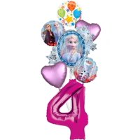 Frozen 2 Party Supplies 4th Birthday Elsa, Anna and Olaf Balloon Bouquet Decorations - Pink Number 4