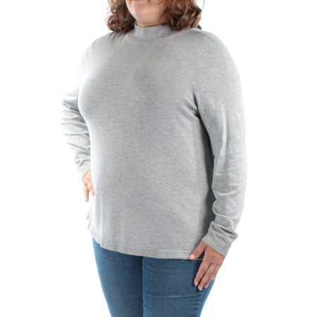 CHARTER CLUB Womens Gray Long Sleeve Turtle Neck Top  Size: 2X