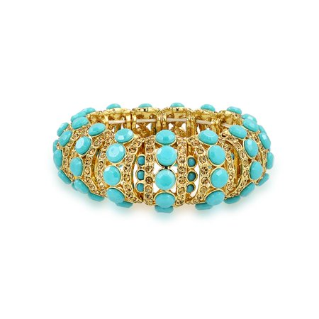 Fashion Wide Dome Simulated Turquoise Blue Gold Plated Crystal Statement Stretch Bracelet For Women