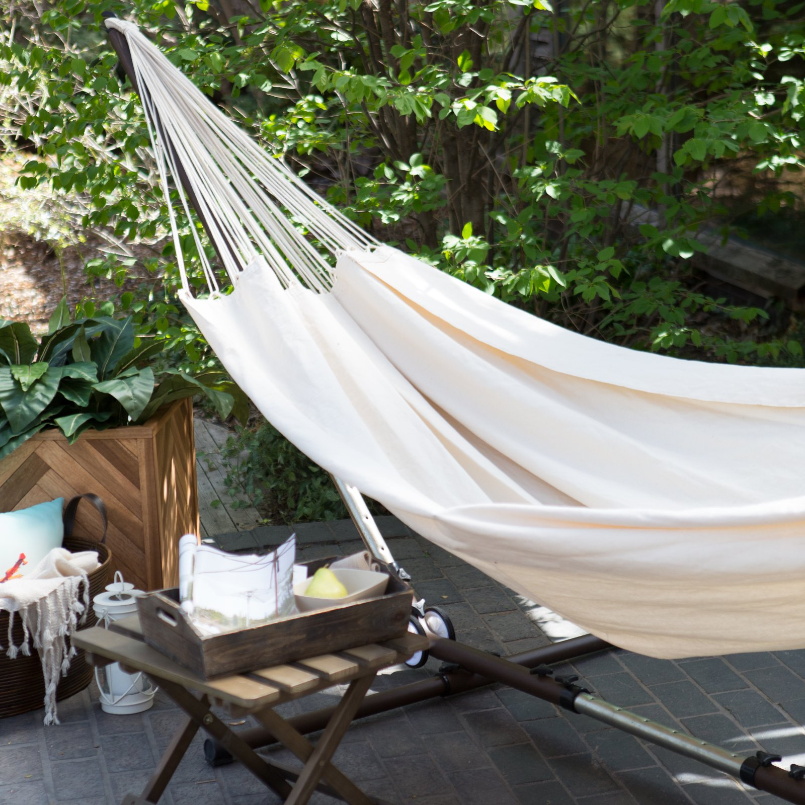 Island Bay XL Natural Brazilian Fabric Double Hammock with Adjustable Stand with Wheels