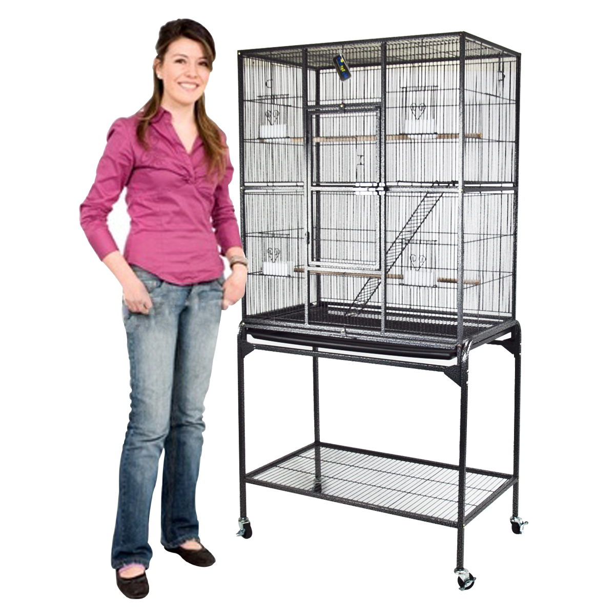 "New Large Metal Bird Cage Parrot Finch Black with Stand 32"" x 18"" x 63"""