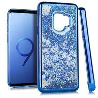 MUNDAZE Blue Motion Glitter Chrome Case For Samsung Galaxy S9 Phone