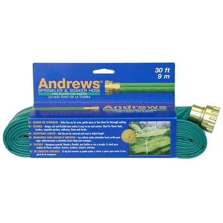 - 30-Foot 2 Tube Sprinkler Hose 10-12346, Andrews Two Tube Sprinkler Hose 30ft Made of durable yet flexible vinyl, the two-tube sprinkler is easy to contour around garden beds and varied terrain