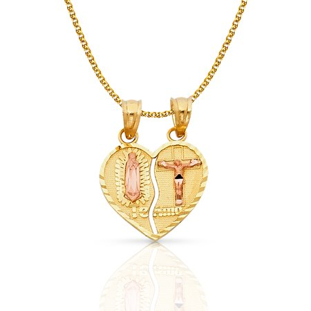 - 14K Two Tone Gold Our Lady of Guadalupe Jesus Broken Heart Te Amo Charm Pendant with 1.2mm Flat Open Wheat Chain Necklace