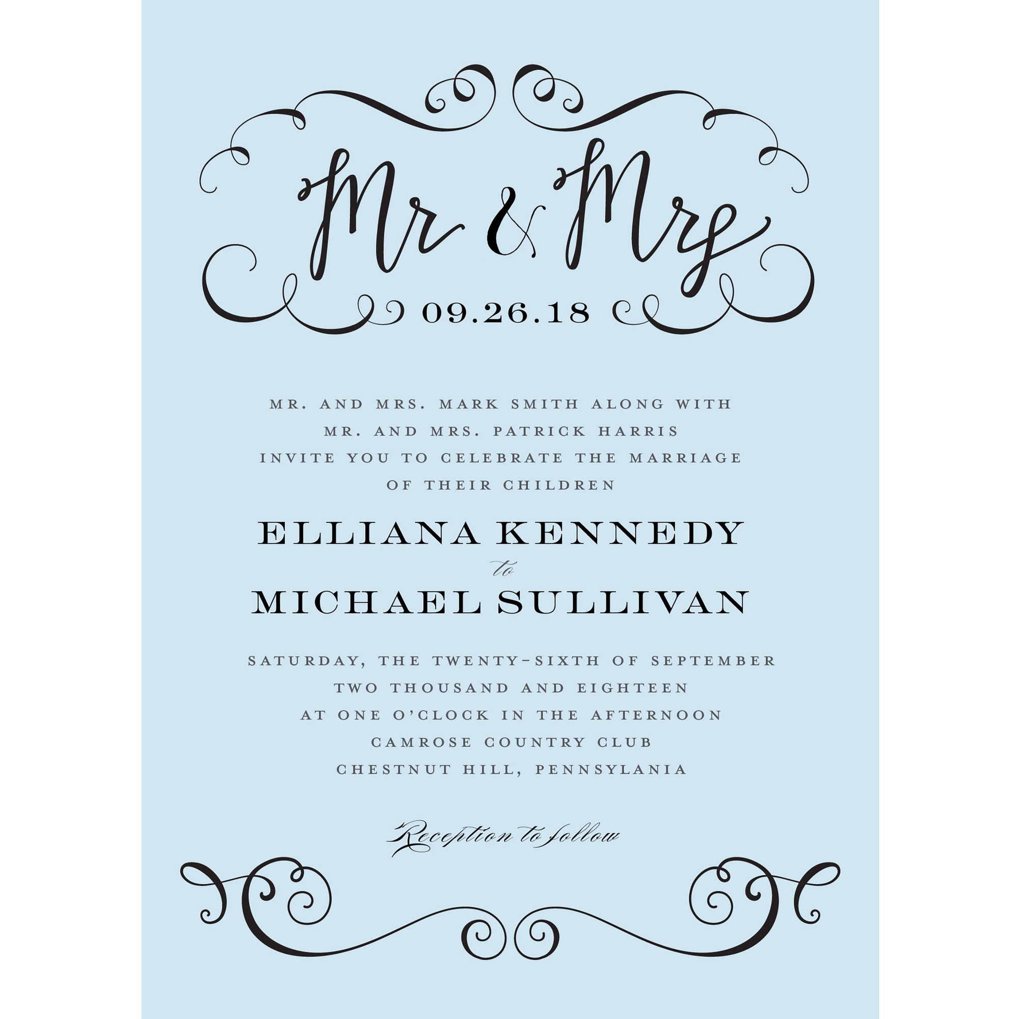 Personalised Hen Party Mr And Mrs Game In 2019: Calligraphy Mr And Mrs Standard Wedding Invitation