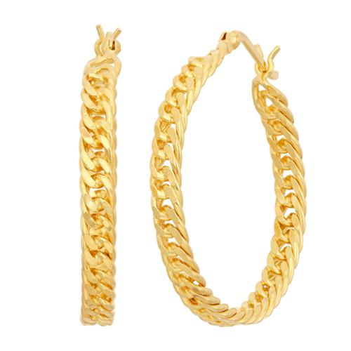Gioelli Sterling Silver Curb Chain Hoop Earrings Yellow Gold Plated