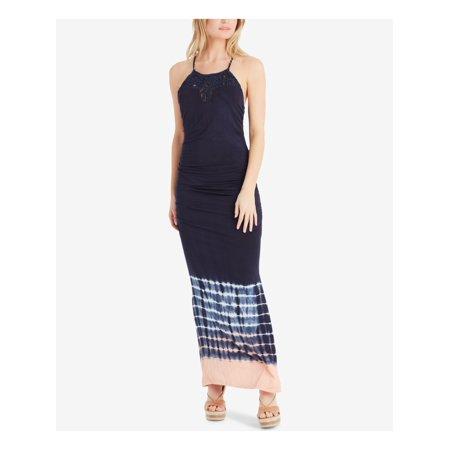 JESSICA SIMPSON Womens Navy Macrame Neck Tie Dye Spaghetti Strap Halter Maxi Dress Juniors Size: L