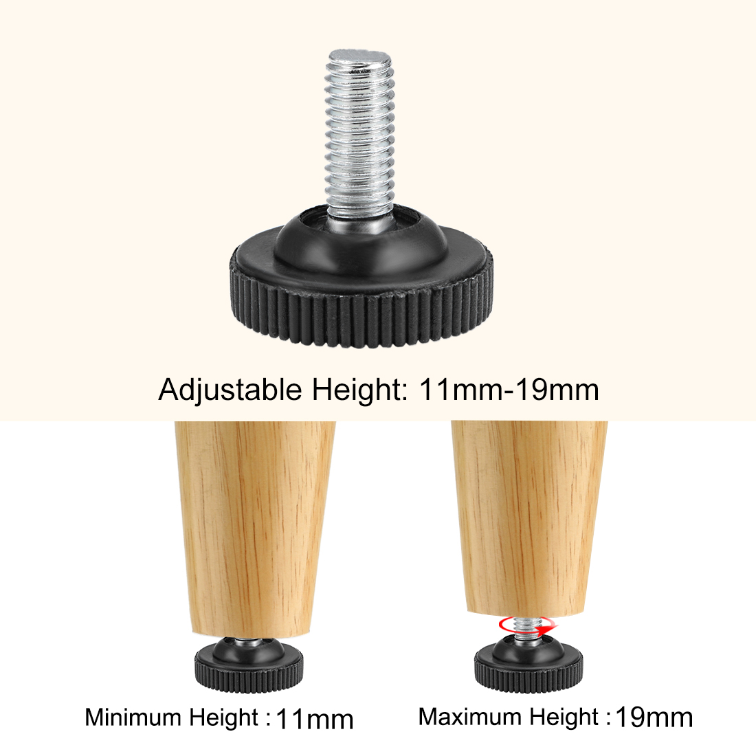 Furniture Levelers, 11mm to 19mm Adjustable Height M8 x 18mm Threaded, 12Pcs - image 3 of 4