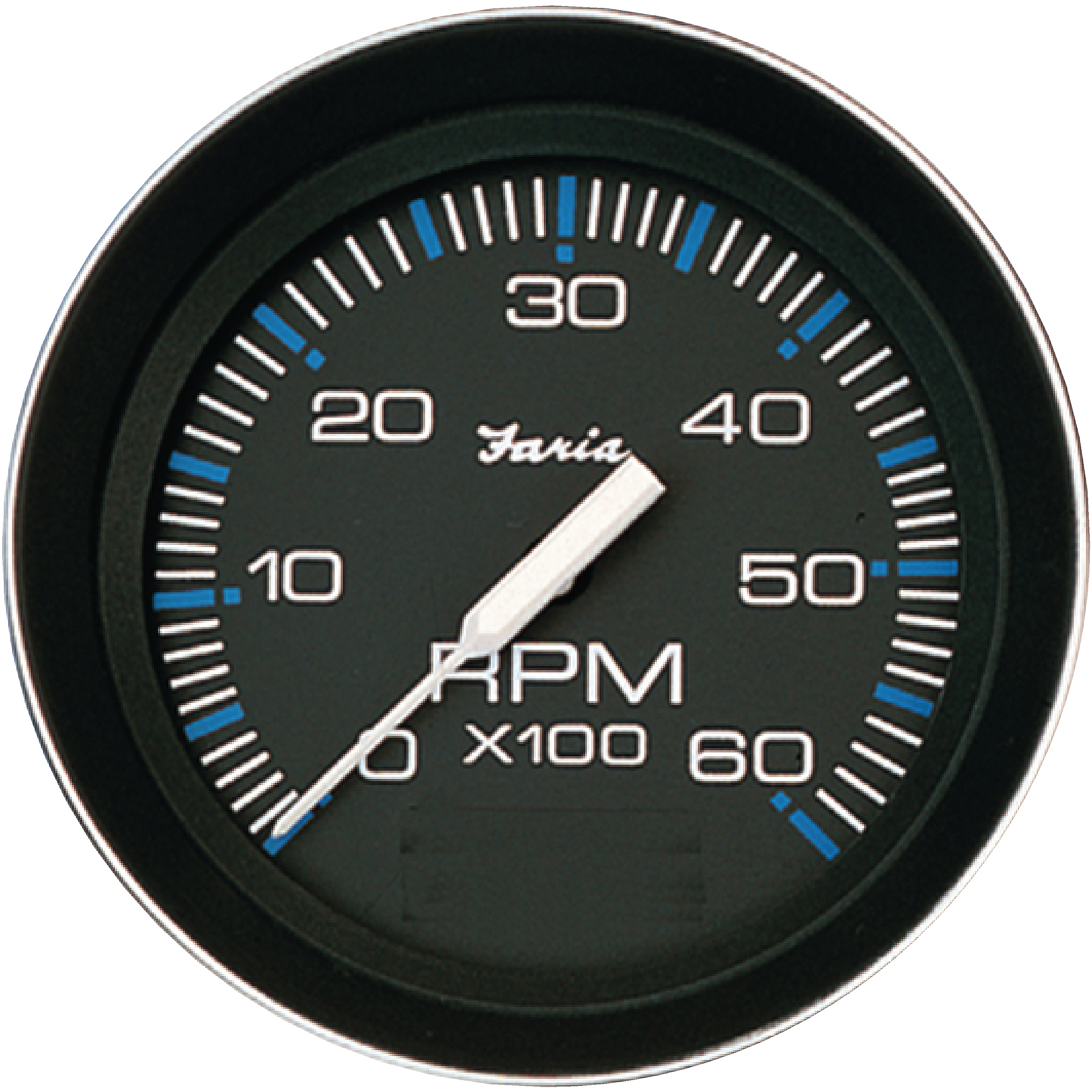 "Faria Coral Black 4"" Gauge, 6000RPM Tachometer , Gas, Inboard and IO"