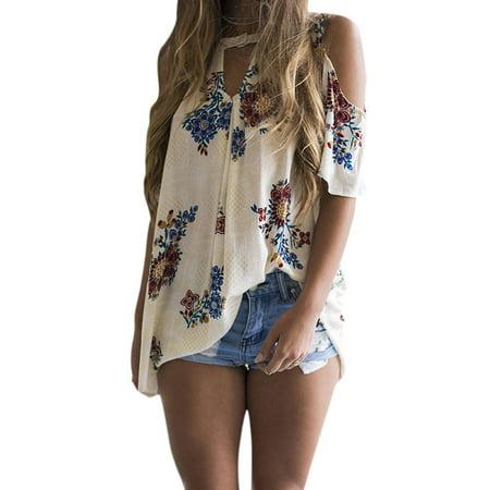 LMart Women Round Neck Cut Out Short Sleeve Cold Shoulder Floral Print Tops Shirt Blouse