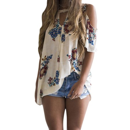 Cold Shoulder Tie Sleeve Top (LMart Women Round Neck Cut Out Short Sleeve Cold Shoulder Floral Print Tops Shirt Blouse )