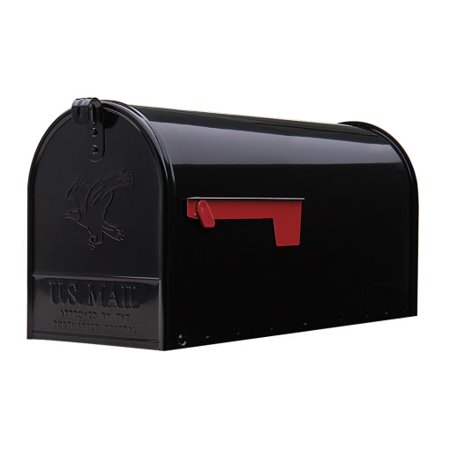 Gibraltar Elite Large, Galvanized Steel, Black Post Mount Mailbox