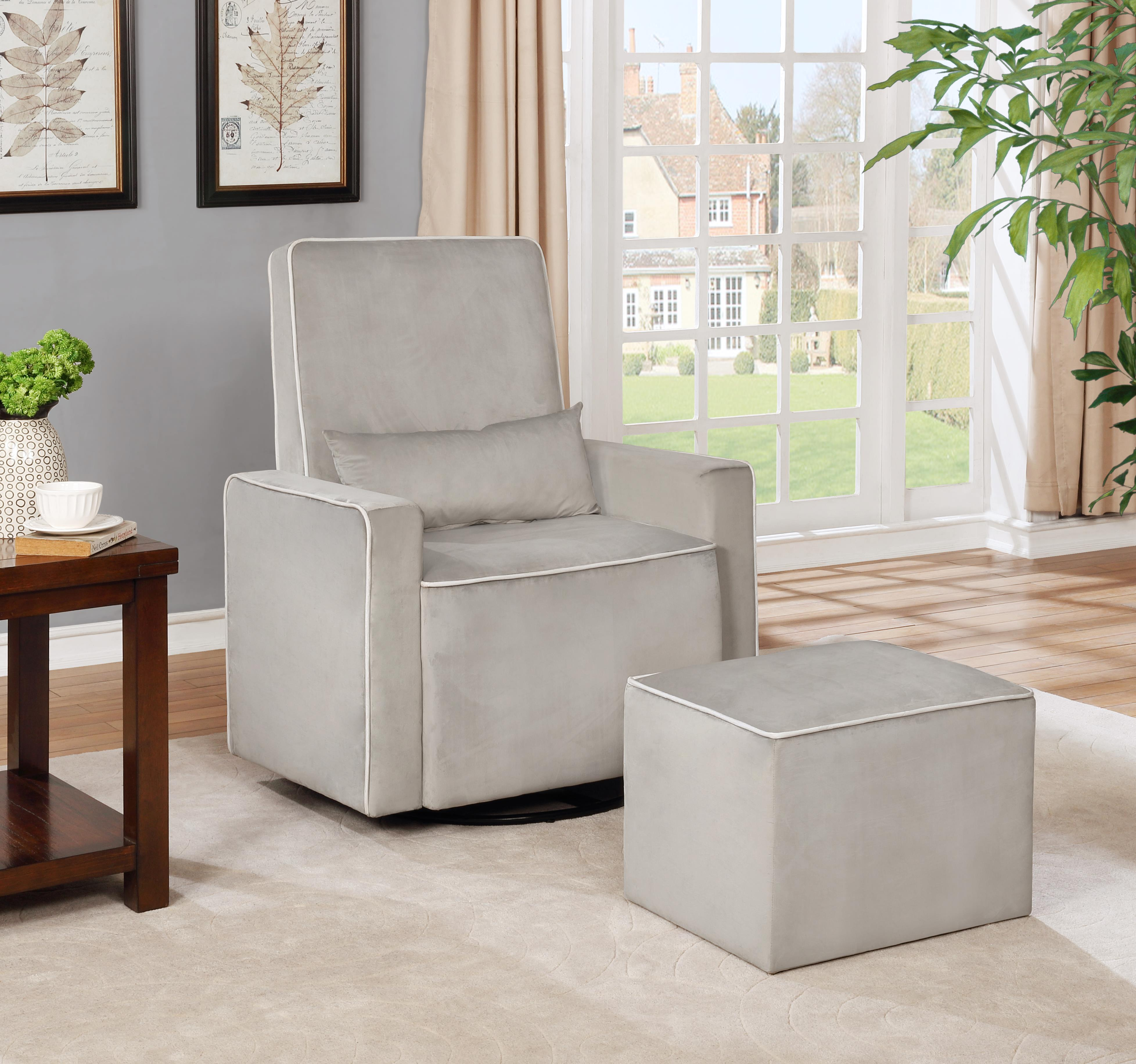 Lorraine Swivel Glider and Ottoman Set-Color:Cream,Material:Microfiber