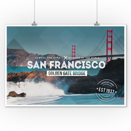 San Francisco, CA - Golden Gate Bridge & Waves - Stamp - Lantern Press Photography (9x12 Art Print, Wall Decor Travel -