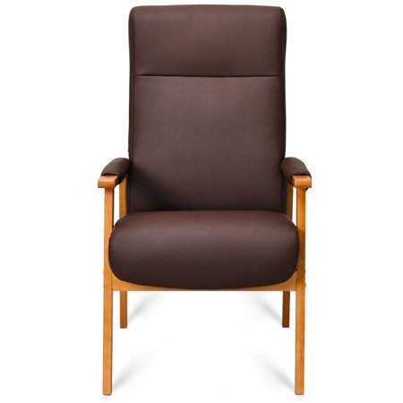 Outstanding Gymax Pu Leather Wooden Upholstered Accent Arm Chair Lounge High Back Brown Ibusinesslaw Wood Chair Design Ideas Ibusinesslaworg