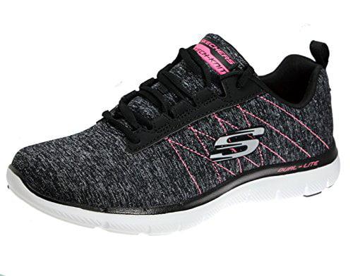 Skechers Flex Appeal 2.0 Laser Show Women's Fashion Sneakers, Black/Pink, 5.5 US