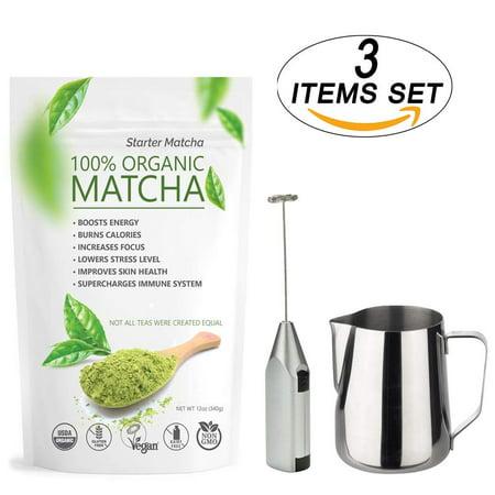 Starter Matcha Set of 3 – Green Tea Powder 12oz+ Electric Frother +Milk Pitcher– Green Tea USDA Organic, Non-GMO Certified, Vegan and Gluten-Free -