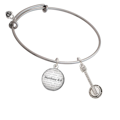 Banjo - Bible Verse Matthew 6:9 Glass Dome Bangle Bracelet