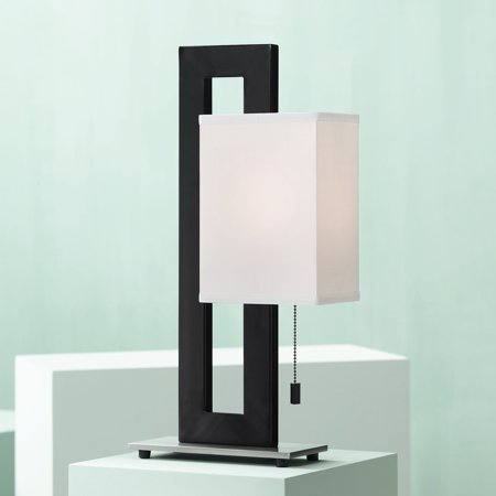 360 Lighting Modern Accent Table Lamp Black Metal Open Rectangular White Floating Box Shade for Living Room Family Bedroom Bedside Wisconsin Metal Table Lamp