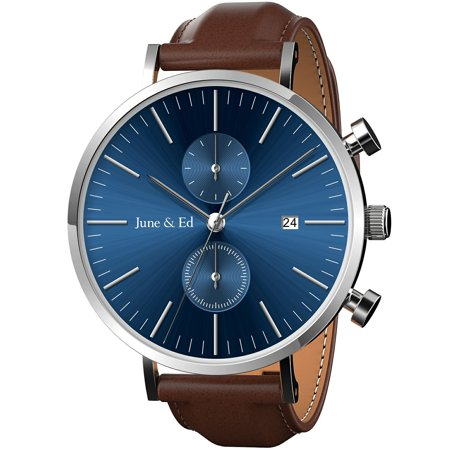 Water Resistant Sapphire Crystal Watch - June & Ed Quartz Stainless Steel Men's Watch with Sapphire Crystal Dial Window - Blue W-0021