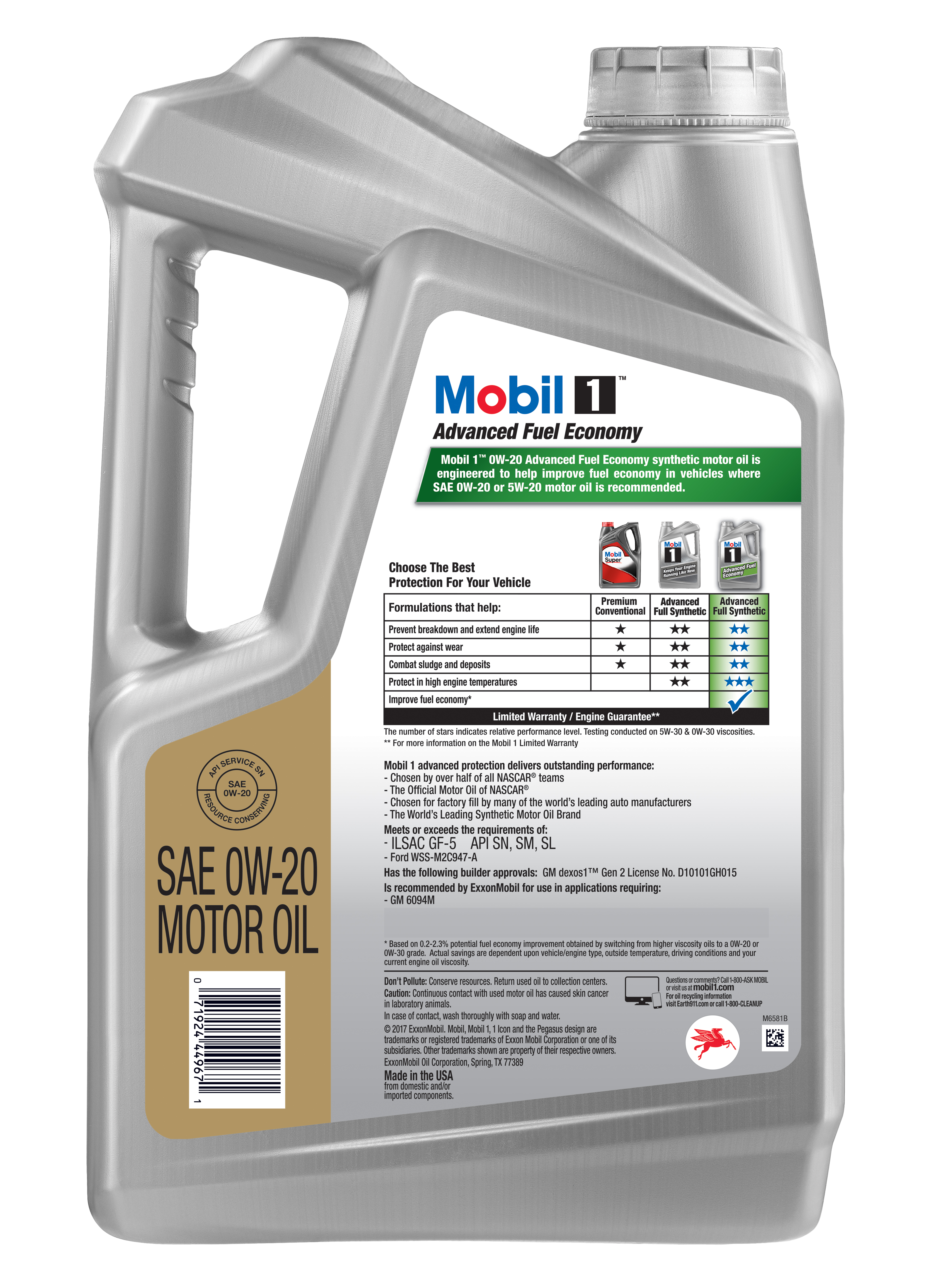 Best 0w 20 Synthetic Oil >> Mobil 1 0w 20 Advanced Fuel Economy Full Synthetic Motor Oil 5 Qt
