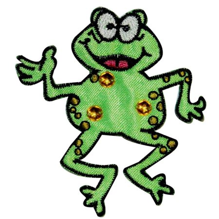 Jeweled Happy Frog Patch Jump Cartoon Amphibian Embroidered Iron On (Jeweled Frog)