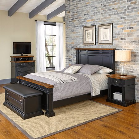 Home Styles Americana Queen Bed, Night Stand, Media Chest and Upholstered Bench