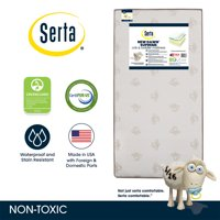 Serta New Dawn Supreme 5.25-Inch Crib and Toddler Mattress - Fiber Core - Dual Sided - Waterproof Woven Cover - GREENGUARD Gold Certified (Natural/Non-Toxic)
