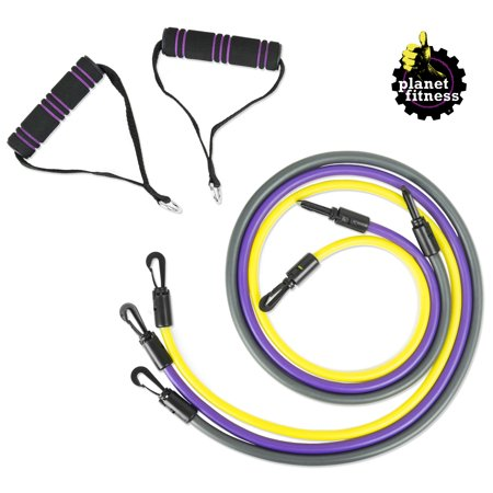 Planet Fitness Resistance Tube Band Set of 3 Stackable Bands with Handles ()