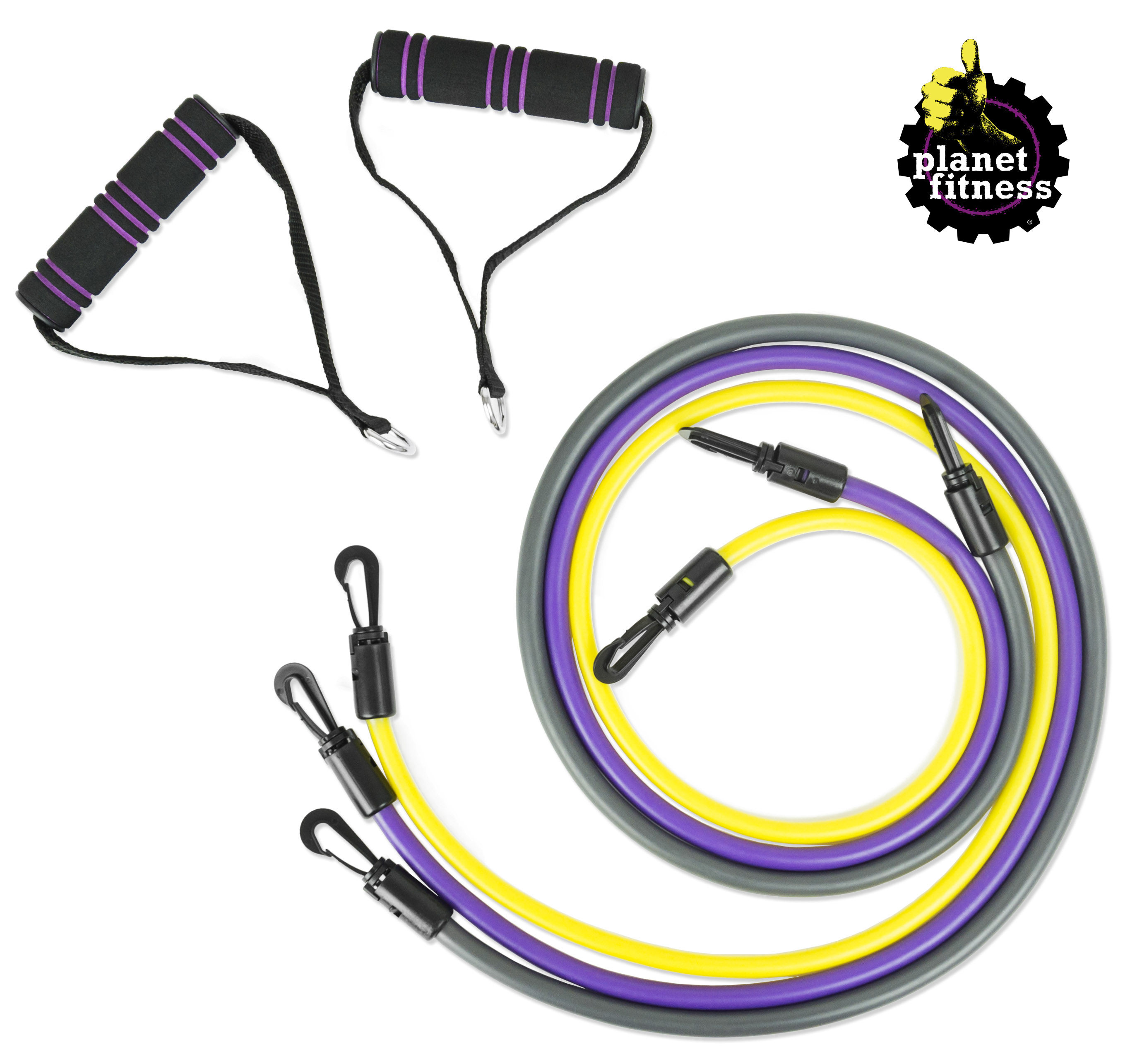 Planet Fitness Resistance Tube Band Set of 3 Stackable Bands with Handles