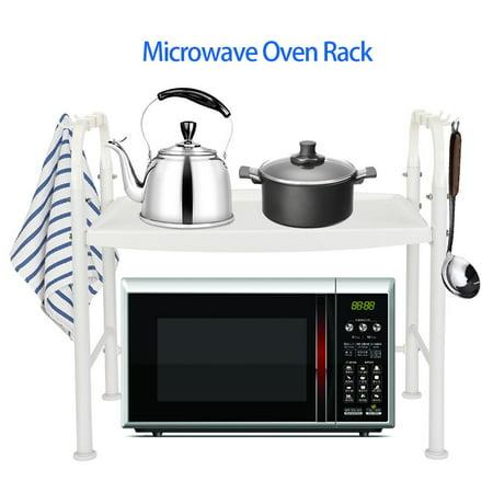 Counter Unit (HERCHR Microwave Oven Storage Rack, Microwave Oven Shelf, Ivory Microwave Oven Rack Stand Household Kitchen Wares Storage Shelf Organizer, Metal Top Microwave Shelf Counter)