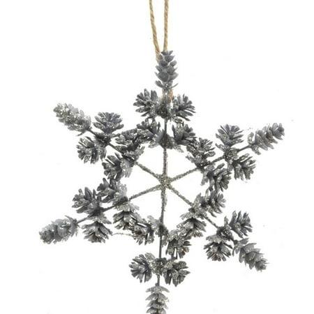 "Kaemingk 8"" Threaded Pine Cone Snowflake Christmas Ornament - Blue"