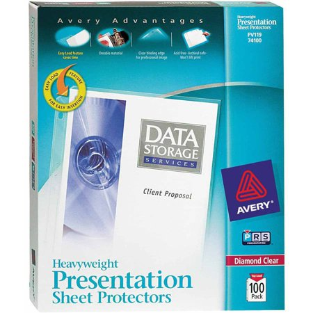 Avery Heavyweight Top Loading Sheet Protectors, 8-1/2 x 11 Inches, Diamond Clear, Box of 100 ()