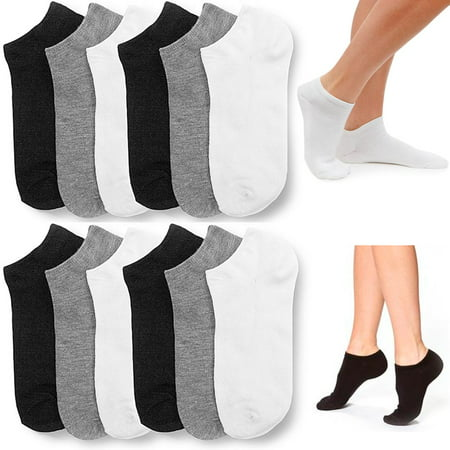 12 Pair Women Ankle Socks Ped Low Cut  Fit Crew Size 9-11 Sport Black White Grey Black Low Cut Sport Socks